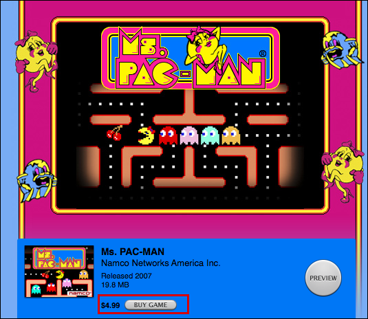 ipod itunes buy game ms pacman 4