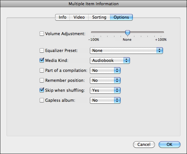 Consolidating audiobook files in itunes