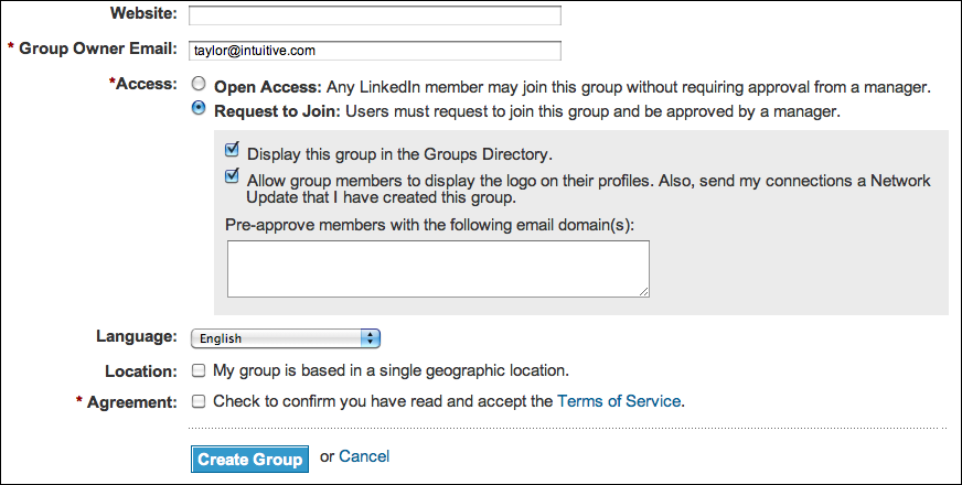 linked in create group access