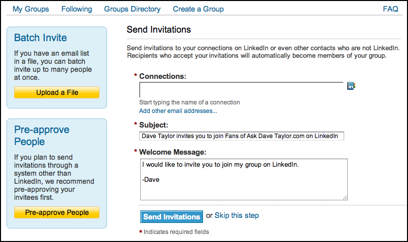 linked in create group invite members invitations