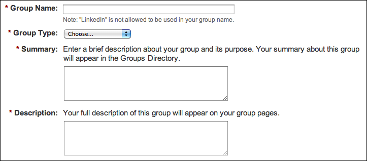 linked in create group name summary