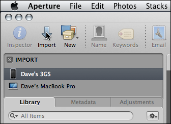 mac aperture device not showing up import iphone