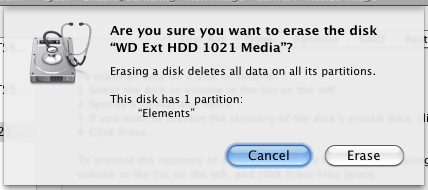mac disk utility are you sure erase