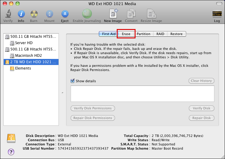 mac disk utility external read only erase