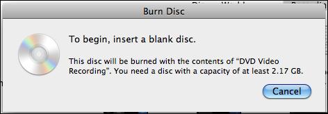 How do I burn a DVD or CDROM in Mac OS X Snow Leopard?