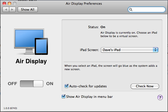 mac ipad air display preferences