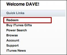 mac itunes quick links redeem