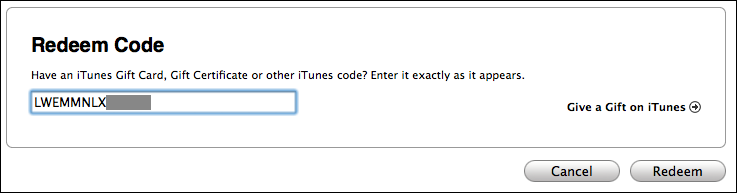 mac itunes redeem ipad app code