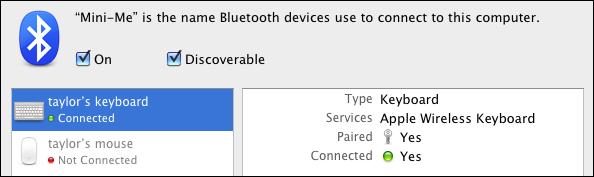 mac mini wireless keyboard paired
