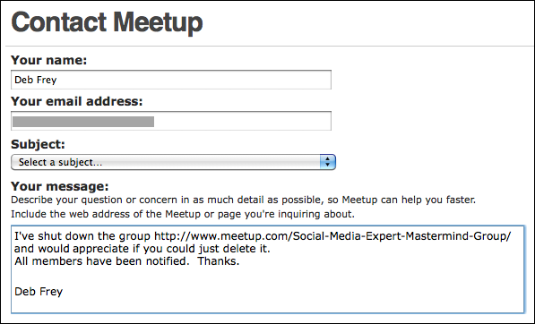 meetup organizer delete group request