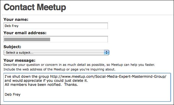 Delete my meetup account