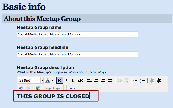 meetup organizer group settings basic info
