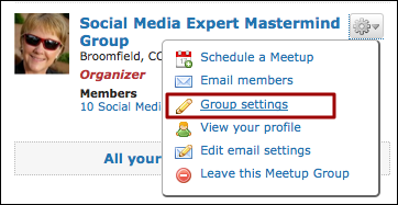 meetup organizer group settings