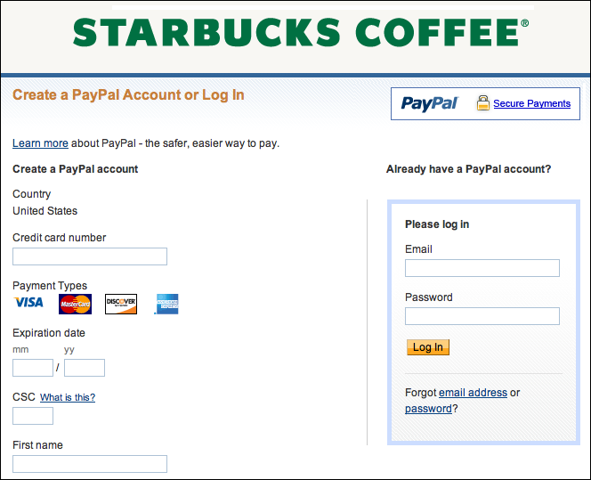 can i reload my starbucks card from paypal ask dave taylor. Black Bedroom Furniture Sets. Home Design Ideas