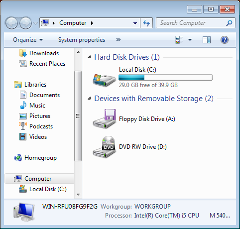 windows 7 available disk space 2
