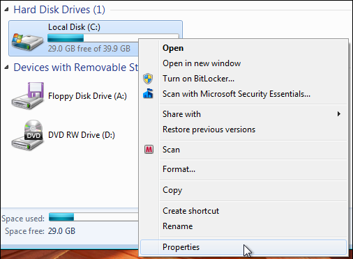 windows 7 available disk space 3