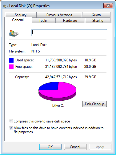 windows 7 available disk space 4