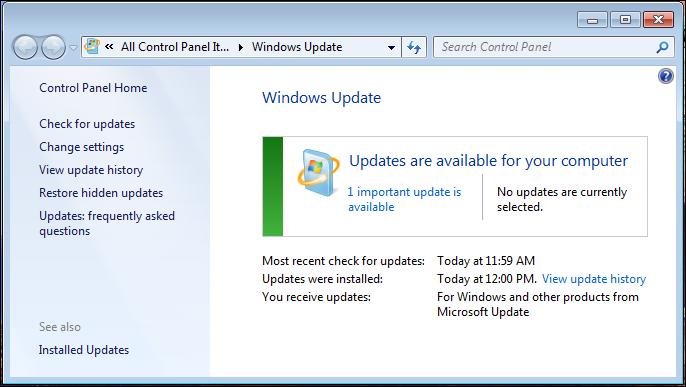 Windows 7 Update Deaktiviert