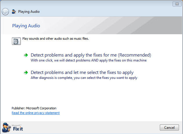 windows 7 xp sound troubleshooting tool 7