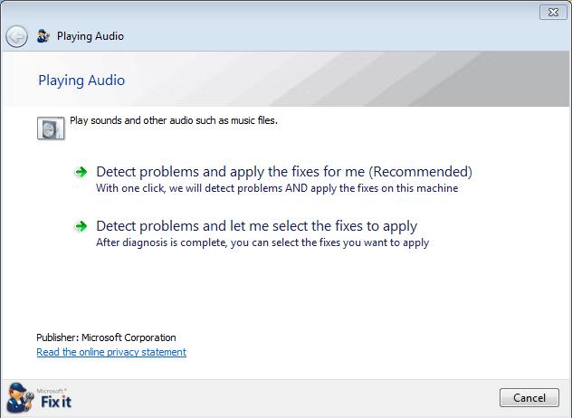fix audio problems windows 7