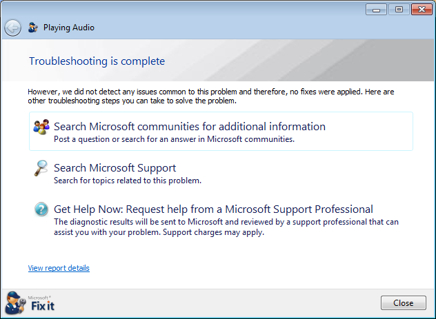 windows 7 xp sound troubleshooting tool 9e