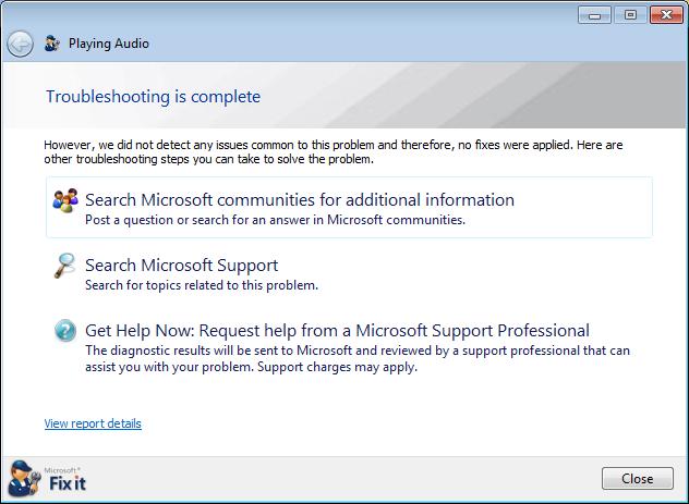 microsoft fix sound windows 7