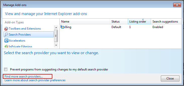windows ie8 search box provider 3