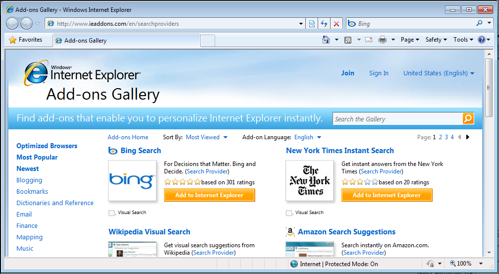 windows ie8 search box provider 4