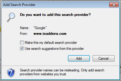 windows ie8 search box provider 6