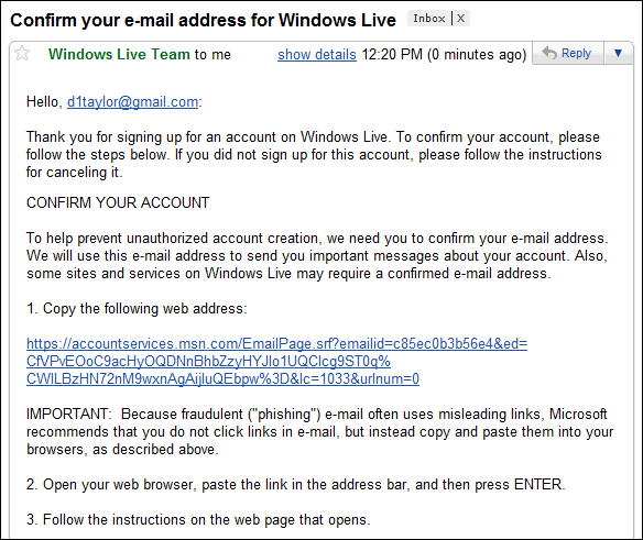 windows live verify email address 4