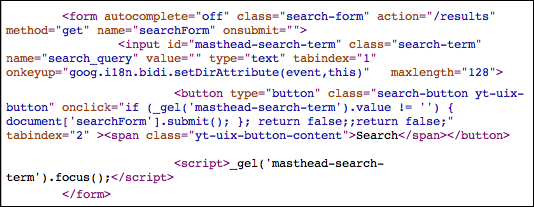 youtube search box source code html