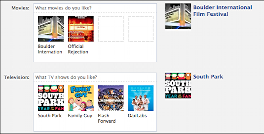 add a favorite tv show or movie to my facebook profile ask dave