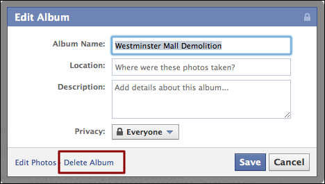 how to delete the photos in facebook