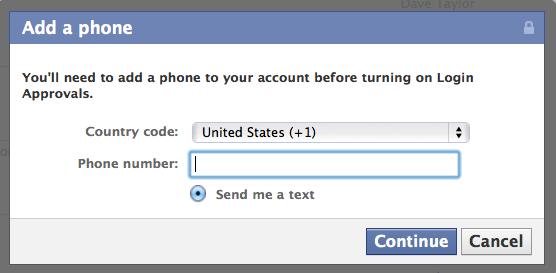 facebook login cellphone sms 4
