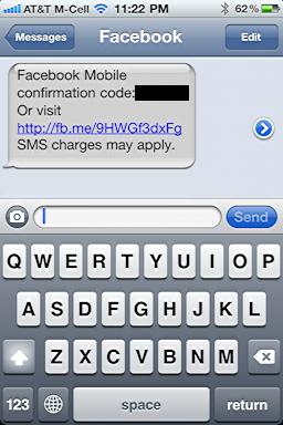 facebook login cellphone sms 5