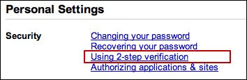 google account management 2 step