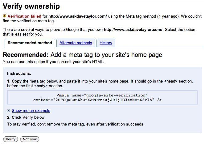 google webmaster verify site 2