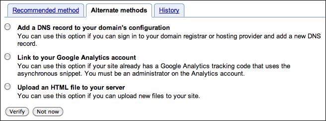 google webmaster verify site 3