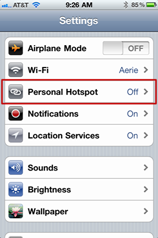 iphone 4 personal hotspot 0