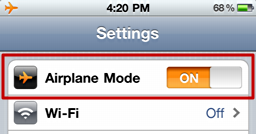 iphone airplane mode on