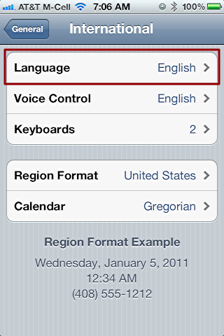iphone change language settings 3
