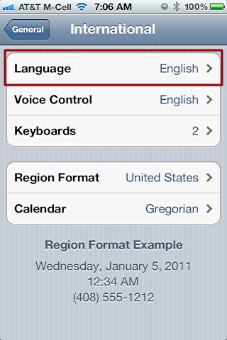 iphone change language settings 3