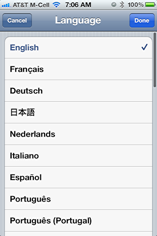 iphone change language settings 4