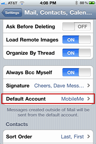 iphone mail change default from account addr 4