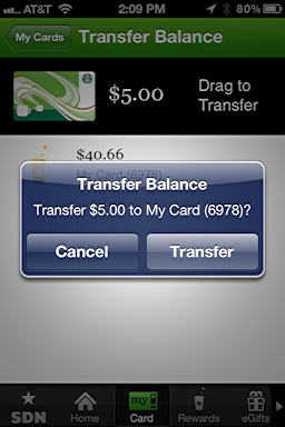 iphone starbucks transfer card balance 5