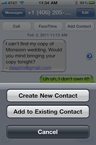 iphone text message save contact number 3