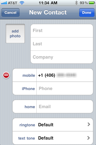 new contact