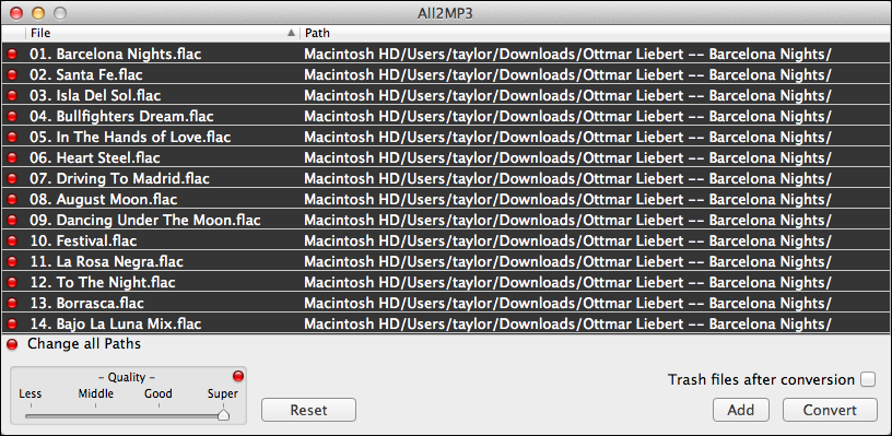 how to change flac to mp3 mac