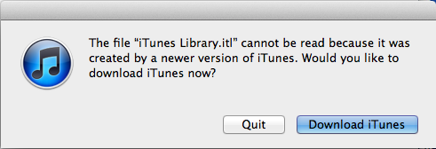 mac older version itunes library error 1