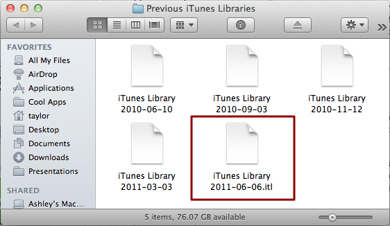 mac older version itunes library error 4